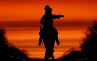 © Guillaume Fleurent. Versailles - Equestrian statue of Louis XIV at dawn.
